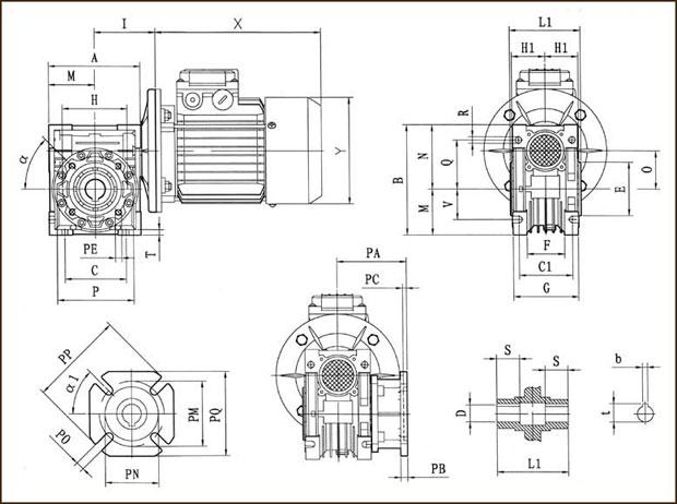 Монтажные размеры червячных мотор-редукторов NMRV